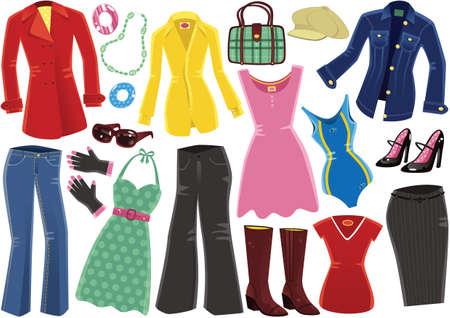 女性のための典型的な衣類のイラスト。  イラスト・ベクター素材