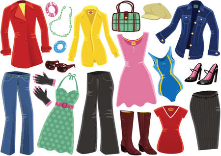 Illustraties van typische kleding voor vrouwen.