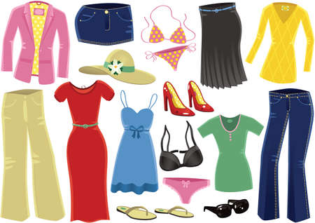 Various illustrations of clothing for women.