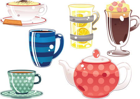 ice tea: Illustrations of various hot drinks including hot chocolate, coffee and tea. Illustration