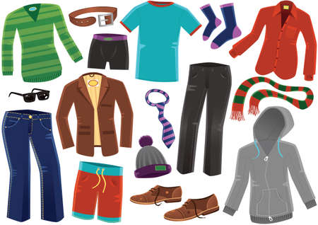 Illustrations of various typical items of clothing for men.