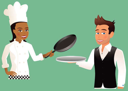 Two images of both a chef and a waiter.