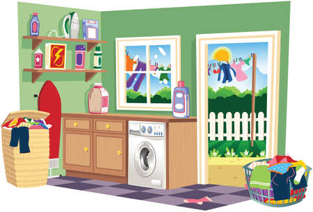 A cutaway illustration of a laundry room on washing day. Illustration