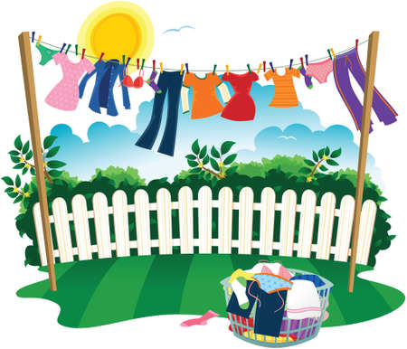A washing line full of clothes on laundry day.