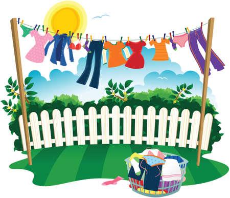 Een waslijn vol kleren op de wasdag.