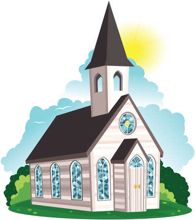 An image of a white wooden clapboard style church or chapel.