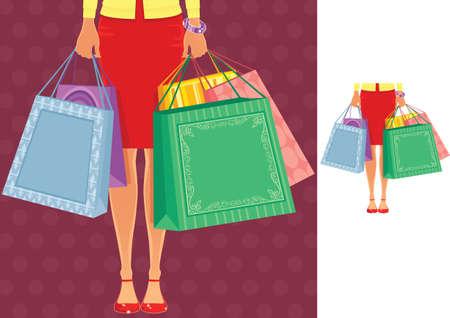 Two illustrations of a female torso and legs plus shopping bags. Ilustração