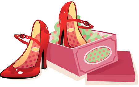 A pair of womens red high heel shoes and shoebox.