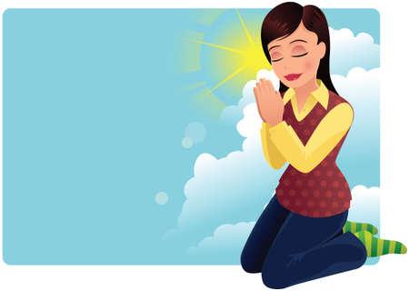 Een jonge vrouw die knielt en bidt.