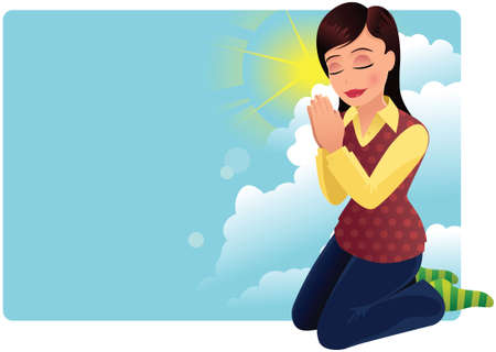 A young woman kneeling and praying. Illustration