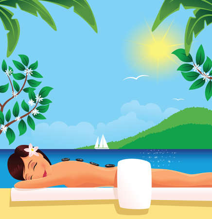 A young woman having stone therapy while relaxing outside. Ilustracja