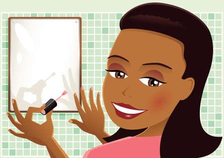 An illustration of a woman using nail polish on her fingers.