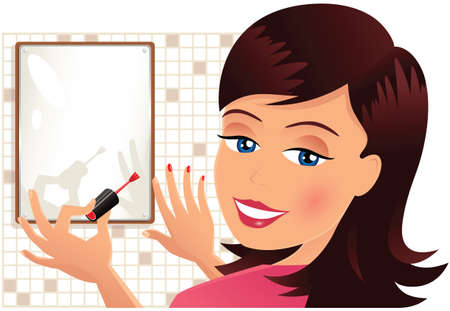 personal grooming: An image of a young woman painting her nails. Illustration