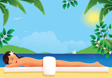 An image of a young woman relaxing in a sunny tropical location. Illustration