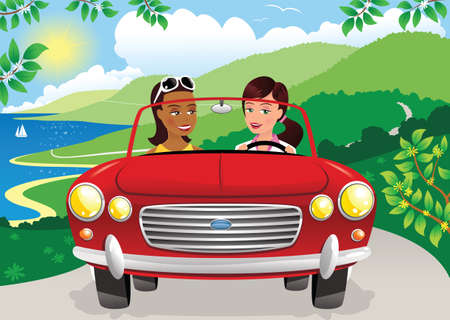 Two young women driving an open top sports car along a coastal road. Illustration