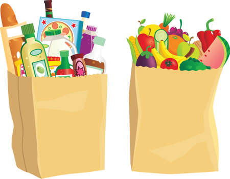 Two grocery bags full of shopping.