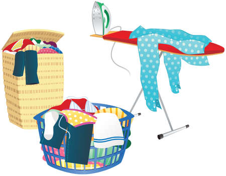 An illustration of an ironing board, laundry hamper and washing basket.