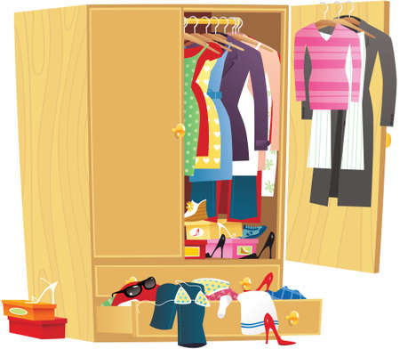 An illustration of a large wooden wardrobe with women's clothing in it.