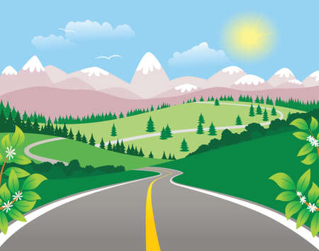 rural road: An image of a mountainous landscape on a sunny day.
