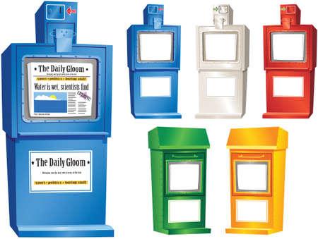 전형적인 거리 신문 자판기의 모듬 일러스트레이션.