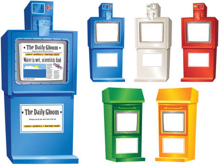 Assorted illustrations of typical street newspaper vending machines. Illustration