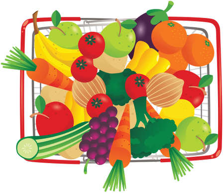 An overhead view image of a wire shopping basket full of fruit and vegetables.