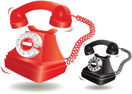 Two illustrations of an old fashioned telephone - red and black colours.