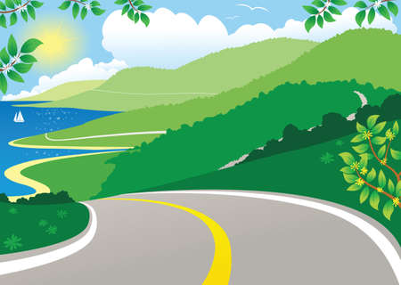 An image of a twisting coastal road on a sunny day. Illustration