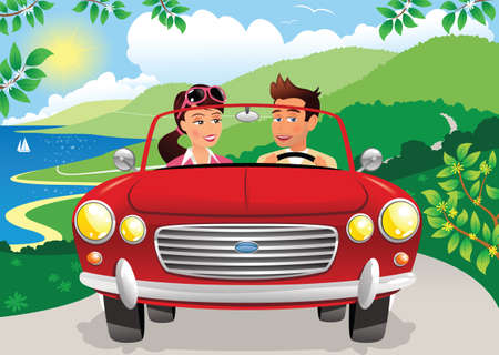 An image of a couple driving a sports car along a coastal road on a sunny day. Illustration