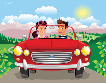 A young couple driving a sports car through a mountainous landscape. Illustration