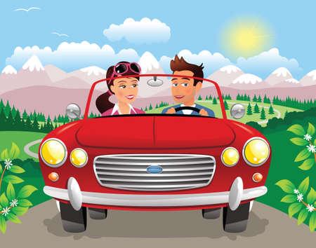 A young couple driving a sports car through a mountainous landscape. Illustration