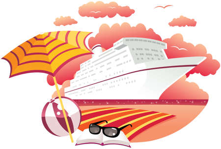 An illustration of a cruise ship moored by the coast at sunset.