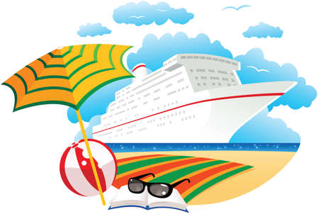 An image of a cruise ship anchored off the shore on a sunny day. Illustration