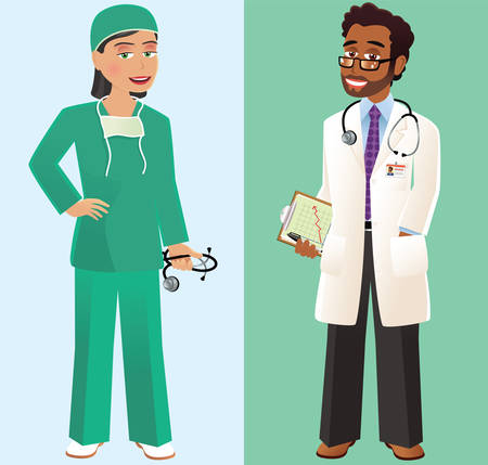 Two images of both a doctor in white coat and a surgeon in scrubs.