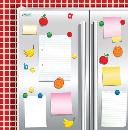 A detail illustration of fridge freezer doors and fridge magnets. Plenty of blank space for your own message.