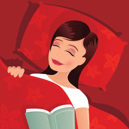 An illustration of a young woman asleep in her bed. Illustration