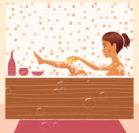 A young woman taking a luxurious bath. Illustration