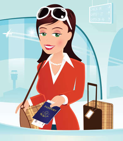An image of a woman handing her passport over at airport check in. Ilustrace