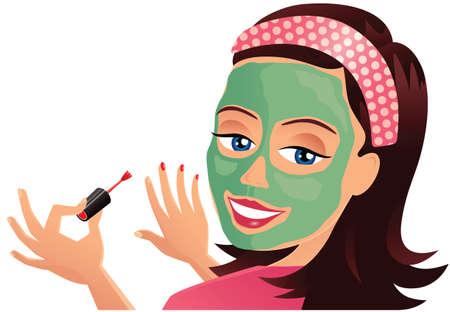 Ein Bild einer jungen Frau, die eine Schönheitsgesichtsmaske beim Malen ihrer Nägel trägt. Standard-Bild - 79328712