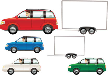 Various images of a modern auto and towing trailer. Trailer is blank for your own message. Иллюстрация