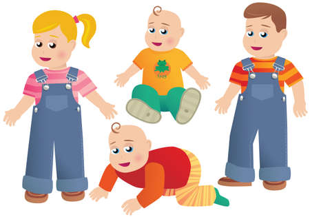 Four illustrations of young children.