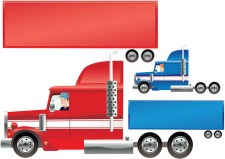 Two illustrations of both a red and a blue big rig truck. Trailer is blank for your own message.