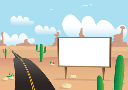 An image of a long desert highway with blank billboard, ready for your own message. Иллюстрация