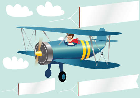 An image of a biplane and various blank banners for your own message. Illustration