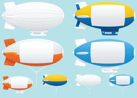 Illustrations of various blimps with blank space down the side for your own message. Illustration
