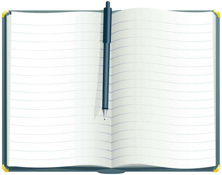 An illustration of a hardback exercise book, blank, ready for your own message. Illustration