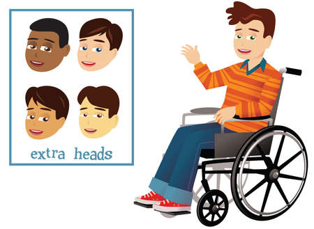 An image of a young boy in a wheelchair. Four different interchangeable heads also. Illustration