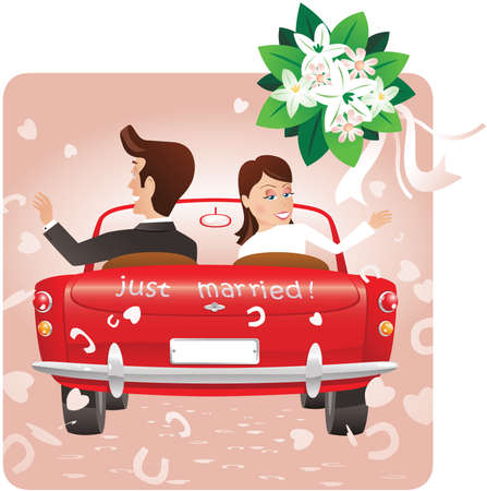 An image of a newlywed couple driving away in an open top sports car, while throwing the bridal bouquet. 矢量图片