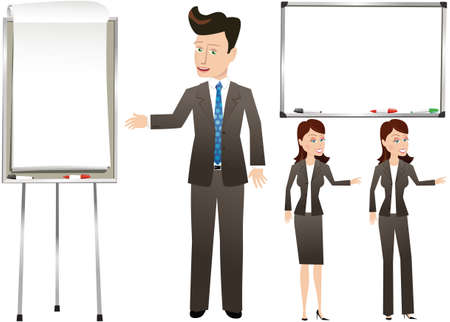 Illustrations of business people gesturing to both a blank whiteboard and flip chart.