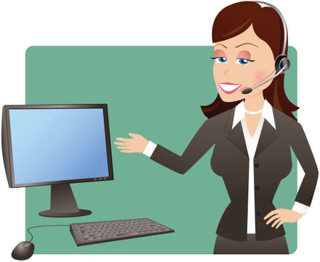 computerized: An image of a young businesswoman gesturing to a computer screen. Screen is blank for your own message.